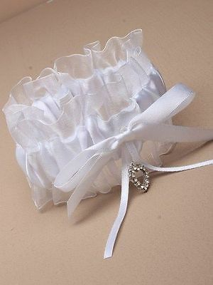 Ladies White Garter Satin Ribbon Bow With Glass Effect Crystal Heart Bridal Hen