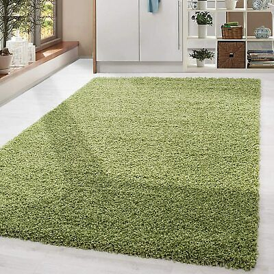 Modern Lime Green Soft Shaggy Non Shed Pile Plain Rug Thick Fluffy Floor Carpet
