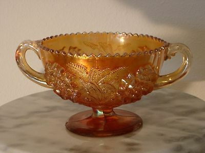 Dugan Carnival Glass Puzzle with Floral & Wheat Footed Double Handled Compote