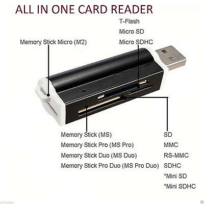 All in One External USB Memory SD SDHC SD MMC TF M2  MS Card Reader UK FAST POST