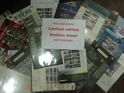 PICK ANY sheet(s) COMMEMORATIVE GENERIC SMILERS SHEET royal mail LIMITED EDITION