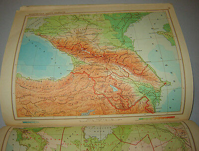 VINTAGE 1950 COMMUNIST RUSSIAN SCHOOL Political ATLAS USSR OLD GEOGRAPHICAL MAP