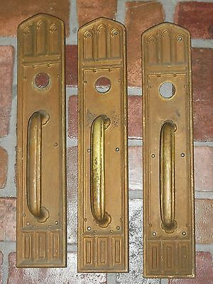 Antique Huge Gothic Door Handles and Backplates