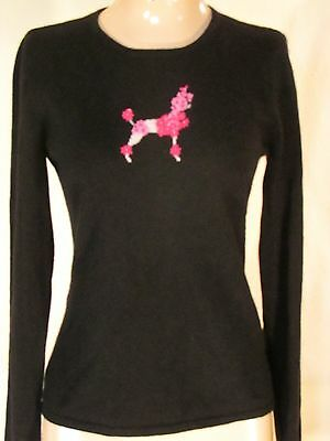 100% Cashmere Crewneck Sweater With Poodle Daniel Bishop Black Size S