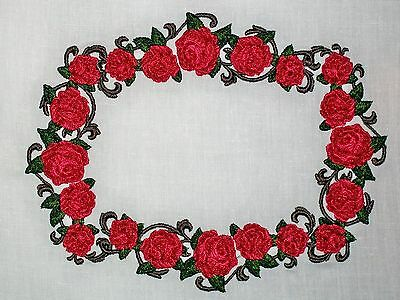 Rose vine embroidered Quilt Label for quilt top or block to customize embroidery