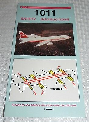 Twa Lockheed L-1011 Safety Instructions Card Excellent Condition 5/91 Nos