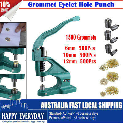 Grommet Eyelet Hole Punch Machine Hand Press Tool Banner Bag Shoes+3 Dies