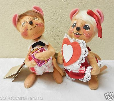 """NMWT! VINTAGE1997Annalee 7"""" """"SWEETHEART BOY&GIRL MOUSE"""" Figurine #034197&034097"""