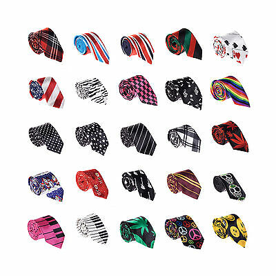 "Men's / Boys Fun Novelty 2"" Slim / Skinny Satin Ties - Various Designs"