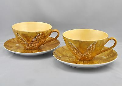 Dorothy Thorpe 2 Cup Saucer Set DOT14 White Gold Butterflies On Mustard