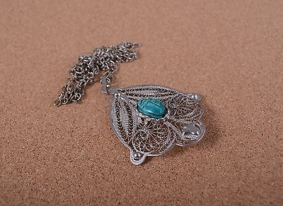 Egyptian Hand Made Ethnic Silver Plated With Scarab Beetle Charm necklace