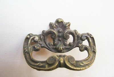 Single Victorian Gilt Brass/Bronze Pull Handle~Single Hole~Scroll & Leaf