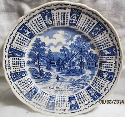 1974 STAFFORDSHIRE ENGLAND ZODIAC CALENDAR PLATE GOD BLESS OUR HOUSE  MEAKIN