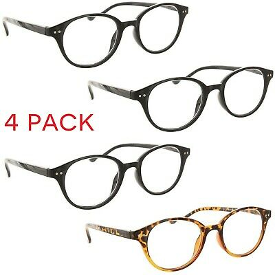 90372ba814f8 Fiore 4 Pack Reading Glasses Vintage Professor Style Readers for Men and  Women