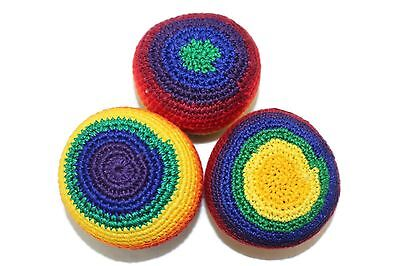 Pack of 3 Handmade Rainbow Theme Hacky Sacks Footbag Juggling Balls Magic