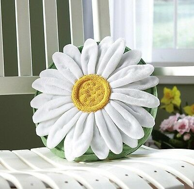"""Pretty Spring White Daisy 3-D Throw Pillow W/ Beaded Accents 12"""" Dia ~NEW~"""