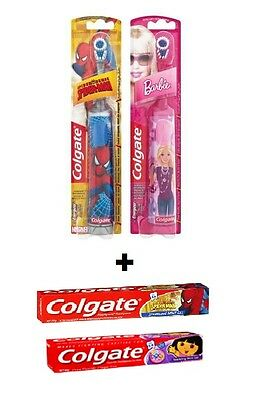 Colgate Childrens Electric Toothbrush + Toothpaste Combo - Barbie or Spiderman