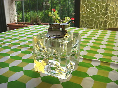 Koei Unicon Art Glass Butane Table Lighter Heavy Solid Clear Mad Men Era