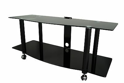 """Black Gloss Glass TV Stand For Large LED LCD Plasma Screen 32 - 70"""" With Castors"""