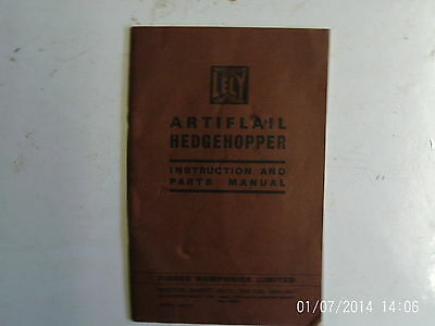 Fisher Lely Humphries Artiflail Hedgehopper Instruction and Parts Manual