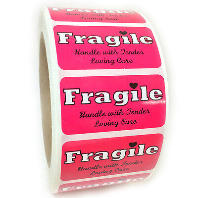 """Pink """"Fragile Handle with Tender Loving Care"""" Labels Stickers 1"""" by 2"""" - 1000 ct"""