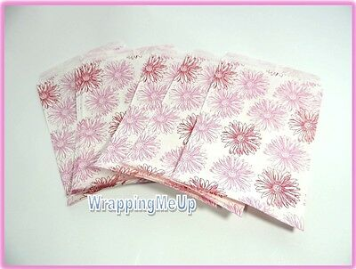 100 -5x7 Pink Flower Print Bags, Retail Paper Gift Bags, Serrated Edge Bags