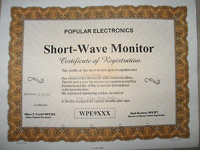 Customized Reproduction of WPE Certificate Popular Electronics w/YOUR WPE Call