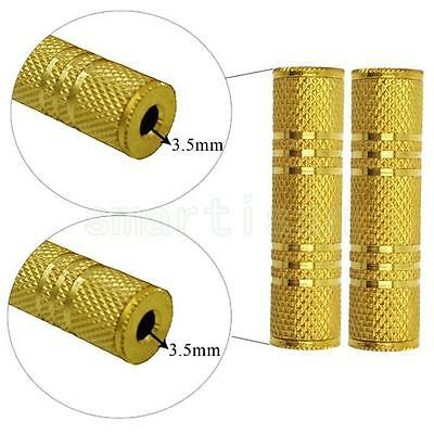 AUDIO STEREO ADAPTER 3.5mm FEMALE to 3.5mm FEMALE GOLD METAL COUPLER CONNECTOR