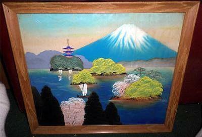"""Vintage Chinese Silk Landscape Painting in 15 1/2X 18"""" Wood Frame Signed SP"""