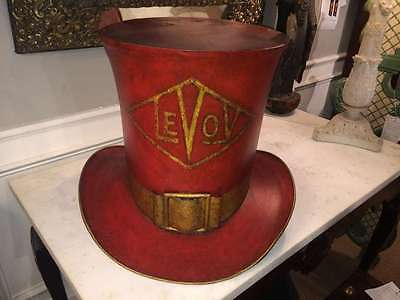 American Folk Art Hat Makers Trade Sign- Large Scale Red and Gilt Tin Top Hat