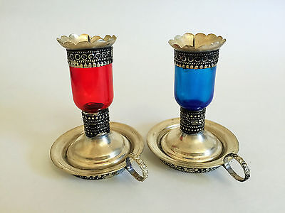 Moroccan Beautiful Handmade Candlestick Silver Plated Red Or Blue Glass Engraved