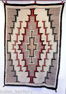"Navajo Rug 69""x40"" c.1920-30: Diamond Center Motif, Uncommon Green Outline"