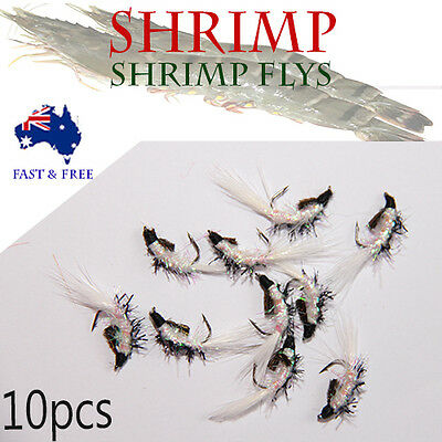 White Shrimp Fly Fishing Lures Freshwater Flies Shrimps Bugs  BASS BREAM Trout