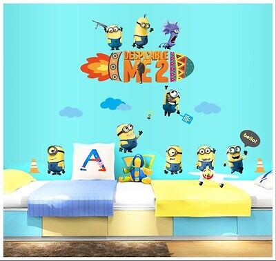 NEW 9 Minions Despicable ME 2 Removable wall sticker Decal Room Decor