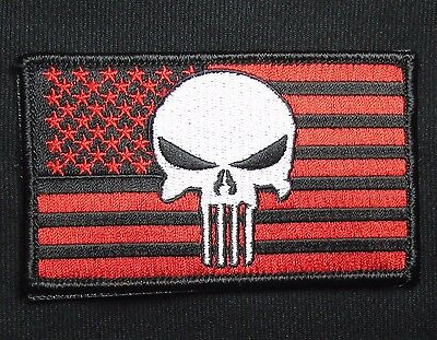USA PUNISHER US FLAG USA MILITARY ISAF SEALS MORALE BLACK OPS RED VELCRO PATCH