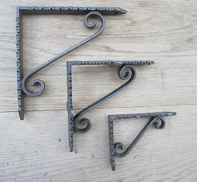 PAIR Antique Cast Iron Scroll shelf Wall Bracket Support books storage