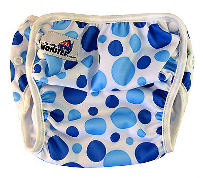 Swim Nappy - washable reuseable swimmer pant adjustable baby toddler Blue Spots