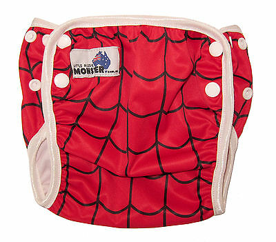 Swim Cloth Nappy - washable reuseable swimmer adjustable baby Toddler Spider web