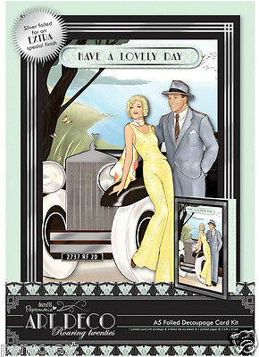 Docrafts Papermania Art Deco A5 foiled decoupage card kit 300gsm Rolls Royce CAR