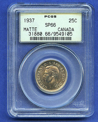 1937 Canada 25 Cent PCGS SP66 Matte Canadian Silver Coin  NO RESERVE