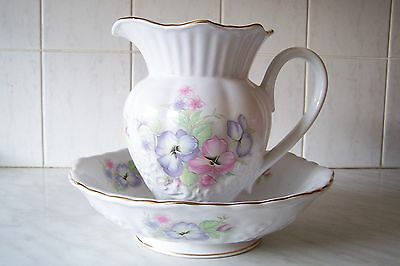 WATER JUG AND BOWL BY MARYLEIGH POTTERY STAFFORDSHIRE ENGLAND PANSIES MOTIF
