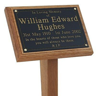 """18"""" Tall Solid Oak Grave / Tree Marker Engraved Memorial Plaque Stake also Pet"""