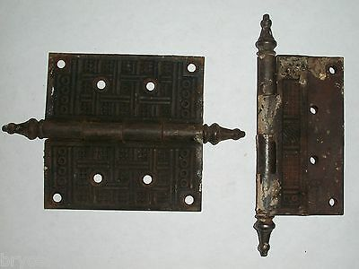 "Antique Eastlake Door Hinges 4 1/2"" x 4 1/2"""