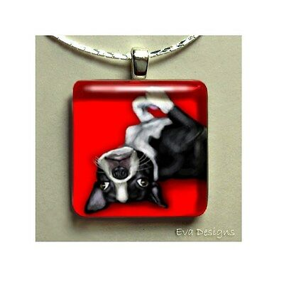 BOSTON TERRIER DOG JEWELRY ART PET GIFT GLASS TILE PENDANT NECKLACE WITH CHAIN