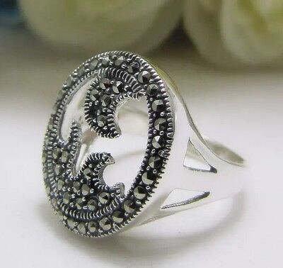 New - Marcasite Ladies Ring 925 Sterling Silver Vintage Antique Fashion Jewelry