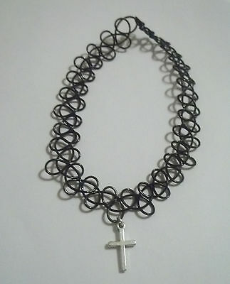 Cross Tattoo Choker Stretch Necklace Pendant Black Grunge 90s Retro Gothic Punk