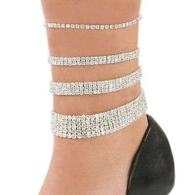 Golden/silver/multi Crystal Diamante Stretchable Anklet/payal Foot Jewellery