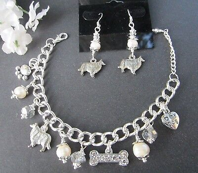 Collie Lassie Dog Charm Bracelet & Earrings with F. Water Pearls &  Crystals