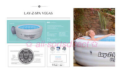 Lay Z Spa Vegas Airjet Inflatable Hot Tub Jacuzzi 4-6 Person 2017 Model Bestway