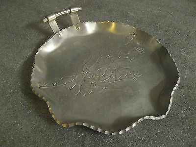 """Farber & Shlevin Inc Hand Wrought Aluminum Vintage 1950's Floral 7"""" Serving Tray"""